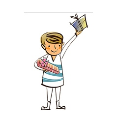 Close-up of boy holding gift vector