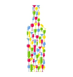 Wine bottle from alcoholic glass silhouette vector