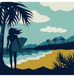 Girl with a surf vector