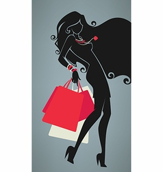 Girl and shopping bags vector