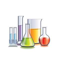 Laboratory with flasks isolated vector