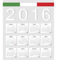 Italian 2016 calendar with shadow angles vector