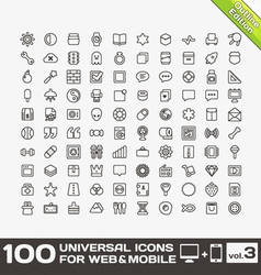 100 universal icons for web and mobile volume 3 vector