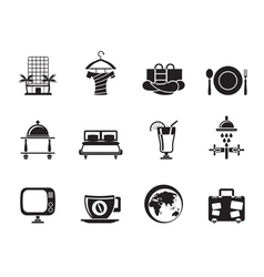 Silhouette hotel and holidays icons vector