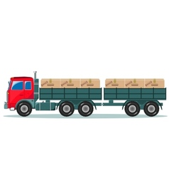 Long truck with cargo goes to the warehouse vector