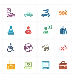 Hotel icons set 1 - colored series vector