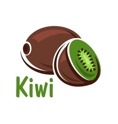 Kiwi fruit with green juicy slice vector