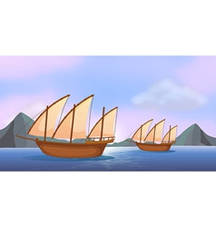 Two wooden ships in the ocean vector