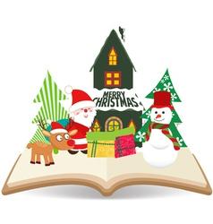 Merry christmas santa claus and snowman on book vector