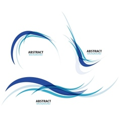 Set of flowing blue wave lines vector