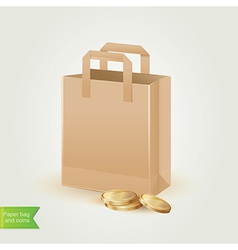 Shopping bag with coins isolated vector