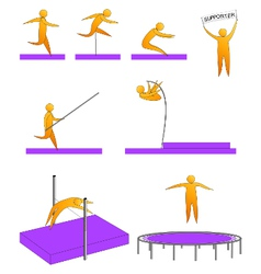 Silhouettes of humans jumping sport vector
