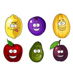 Cartoon apple plums melon lemon and avocado fruits vector