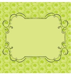 Ornate frame on green retro background vector