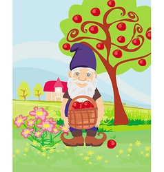 Smiling gnome gardener in the orchard vector