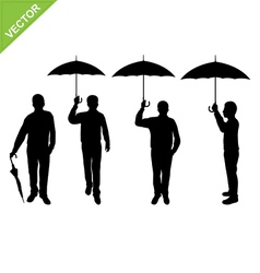 Business man silhouettes holding umbrella vector