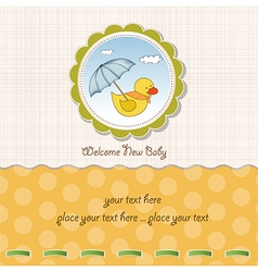 Baby shower card with duck toy vector