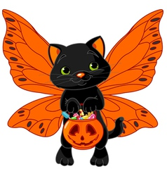 Cute halloween cat vector