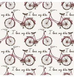 Seamless with hand drawn bicycles vector