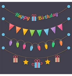 Party happy birthday light bulbs vector