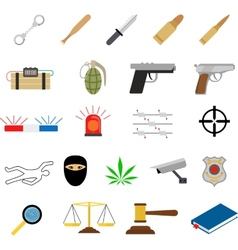 Crime icons in flat colors style vector