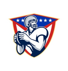 American football quarterback throw ball vector