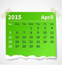 Calendar april 2015 colorful torn paper vector