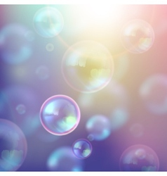 Vintage of shiny soap bubbles and flare effect vector