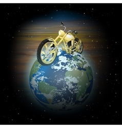 Motorcycle on planet earth vector