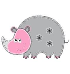 Cute cartoon isolated fabric animal rhino vector