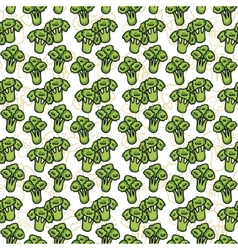 Seamless pattern of sketch broccoli  beautiful vector