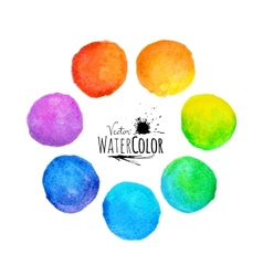 Colorful set isolated watercolor paint circles vector