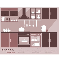 Kitchen interior flat infographic design vector