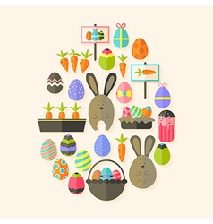 Easter holiday flat icons set egg shaped with vector