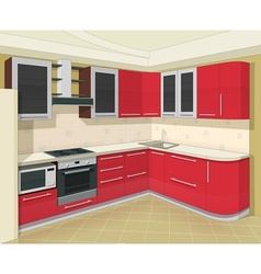 Kitchen interior with vector