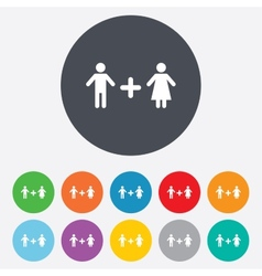Couple sign icon male plus female lovers vector