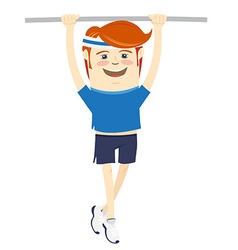 Hipster funny sportsman hanging on horizontal bar vector