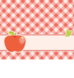 Ripe red apple on a plaid background vector