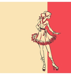 Sketch of stylish woman in dress in full length vector