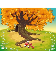 Tree in autumnal landscape vector