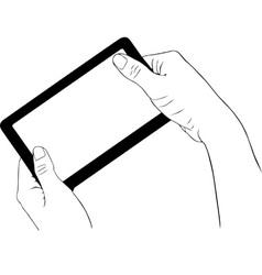 Hand holding digital tablet vector