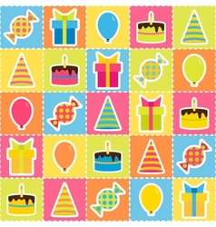 Seamless pattern with elements of birthday party - vector