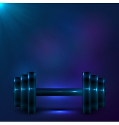 Dumbbell on night dark blue background vector