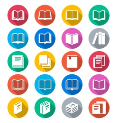 Book flat color icons vector