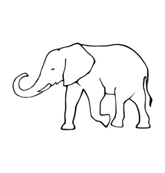 Outline elephant  template for design vector