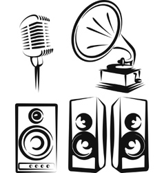 With a set of music equipment vector