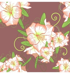 Floral seamless background with white amaryllis vector