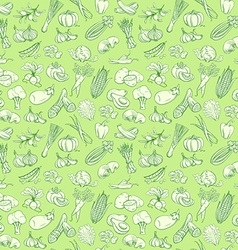 Outline hand drawn vegetable pattern flat style vector