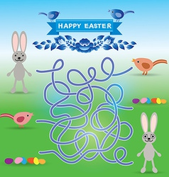 Happy easter set rabbit eggs bird labyrinth game vector