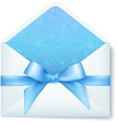 Paper envelope with blue bow vector
